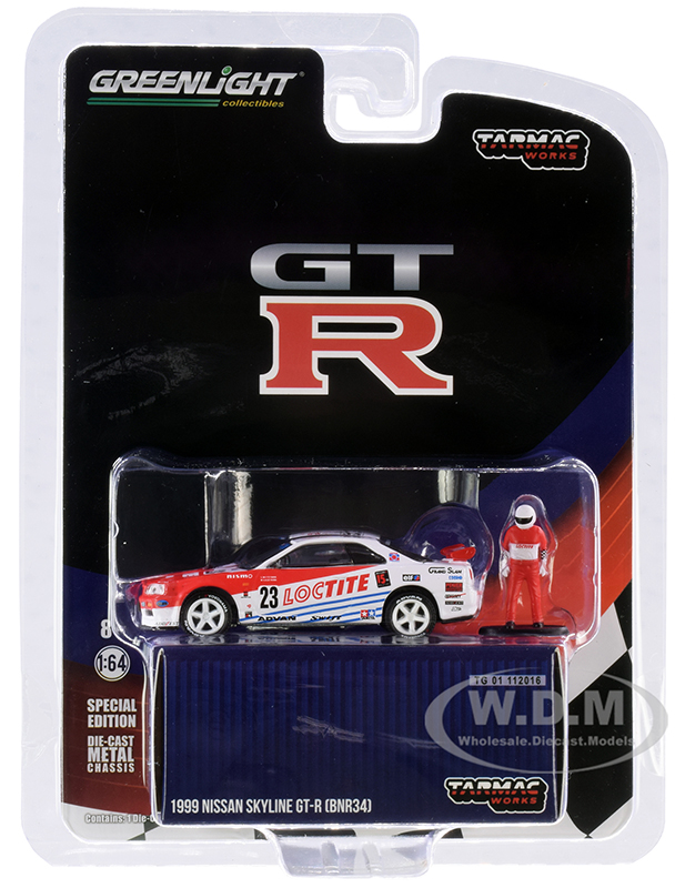 1999 Nissan Skyline GT-R (BNR34) 23 Loctite with Driver Figurine Tarmac Works Exclusive 1/64 Diecast Model Car by Greenlight