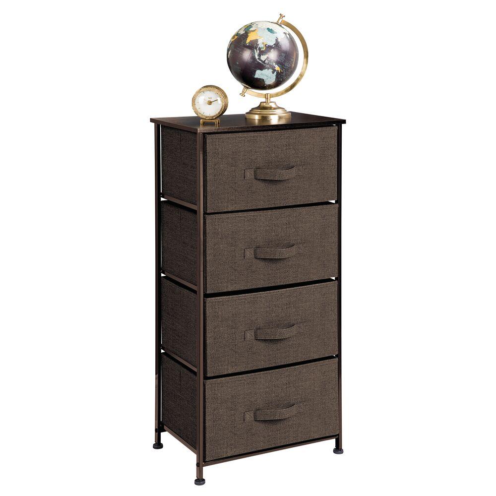 4 Drawer Tall Fabric Dresser for Storage in Espresso, 12 x 17.75 x 37, by mDesign