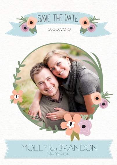 Save the Date Flat Glossy Photo Paper Cards with Envelopes, 5x7, Card & Stationery -Flower Ribbon Save the Date