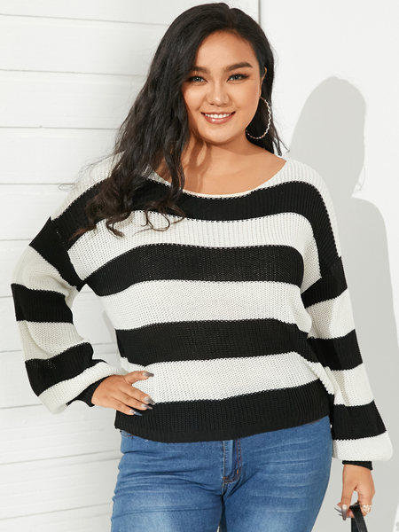 Yoins Plus Size Round Neck Striped Long Sleeves Sweater