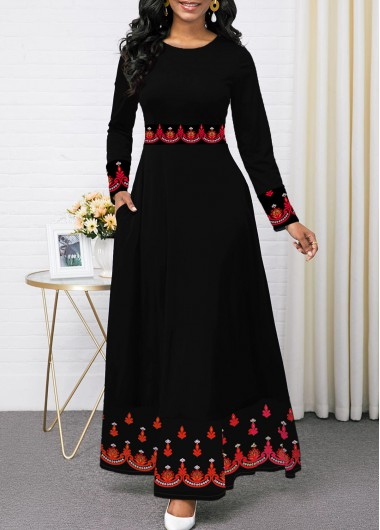 Women'S Black Vintage Dress Long Sleeve Tribal Print Round Neck Maxi Elegant Dress By Rosewe - XL