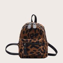 Rucksack mit Leopard Muster und Taschen vorn