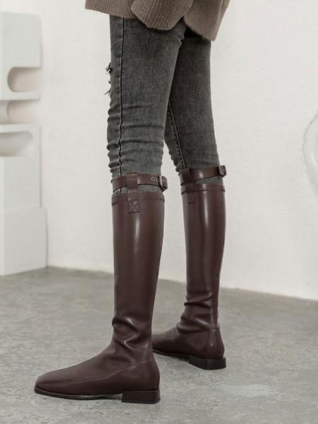 Milanoo Botas hasta la rodilla para mujer Botas altas negras con punta cuadrada plana y punta cuadrada