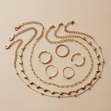 3 Stuecke Halskette mit Herzen Dekor & 5 Stuecke Ring