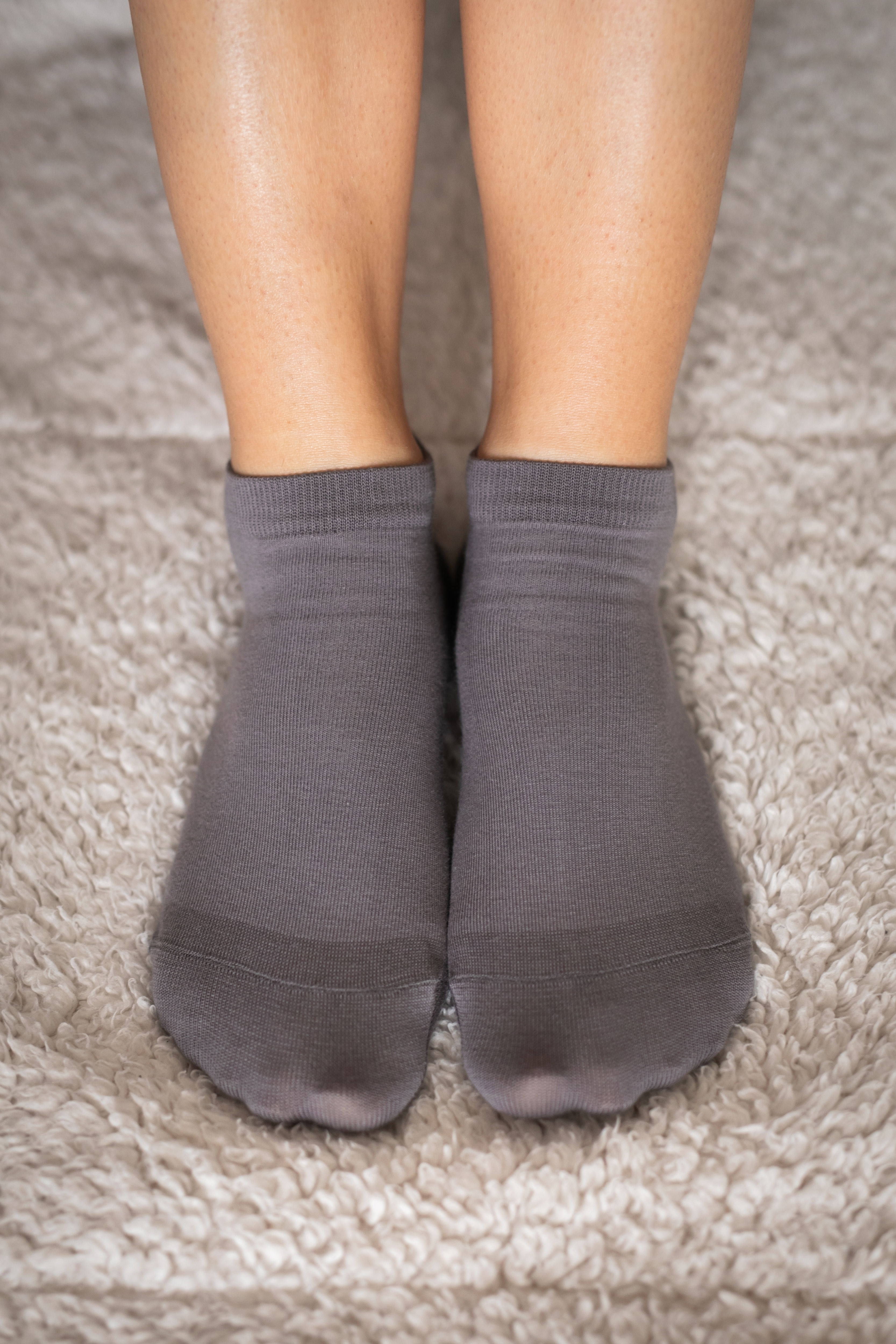 Barfuss-Socken - niedrege - grau 35-38