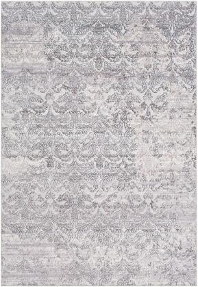 Genesis GNS-2302 53 x 77 Rectangle Traditional Rug in Silver Gray  Medium Gray  White  Pale Blue