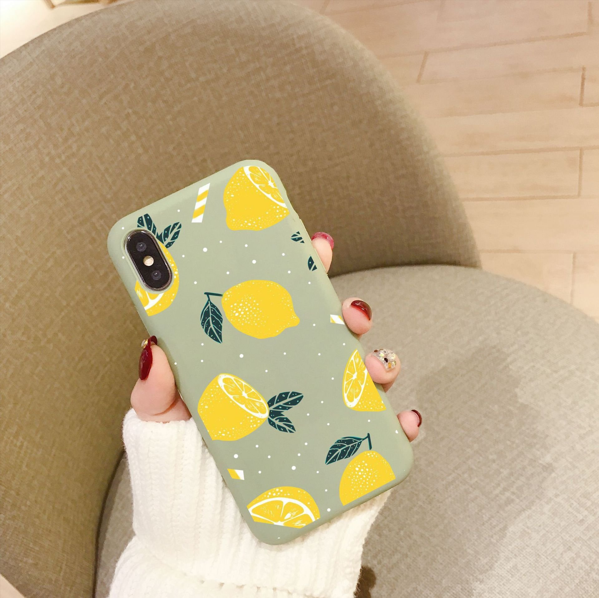 TPU iphone Phone Shell Avocado Fruit Pattern
