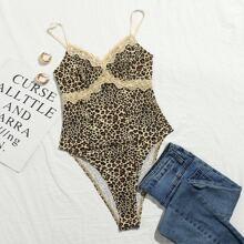 Cami Body mit Spitzenbesatz und Leopard Muster