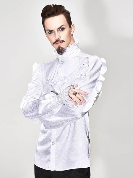 Milanoo White Vintage Shirt Jacquard Stand Collar Ruffle Aristocrat Retro Costumes For Man Halloween
