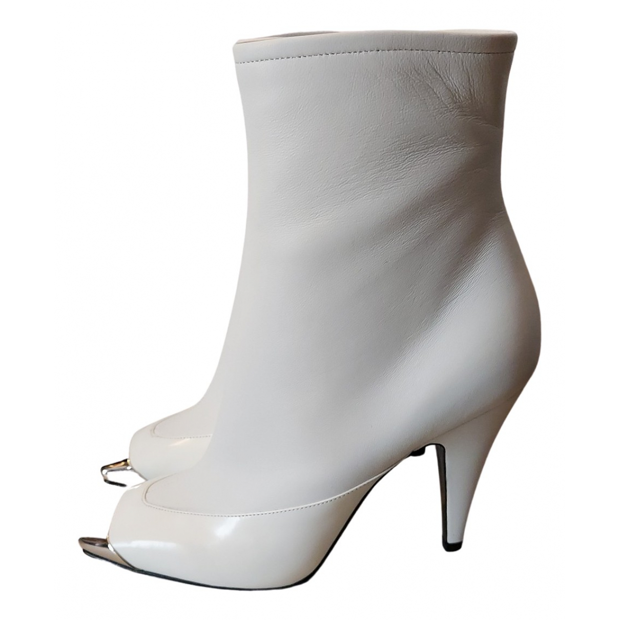Emilio Pucci N White Leather Ankle boots for Women 38 EU
