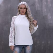 Bluse mit Kontrast Spitze und Band hinten