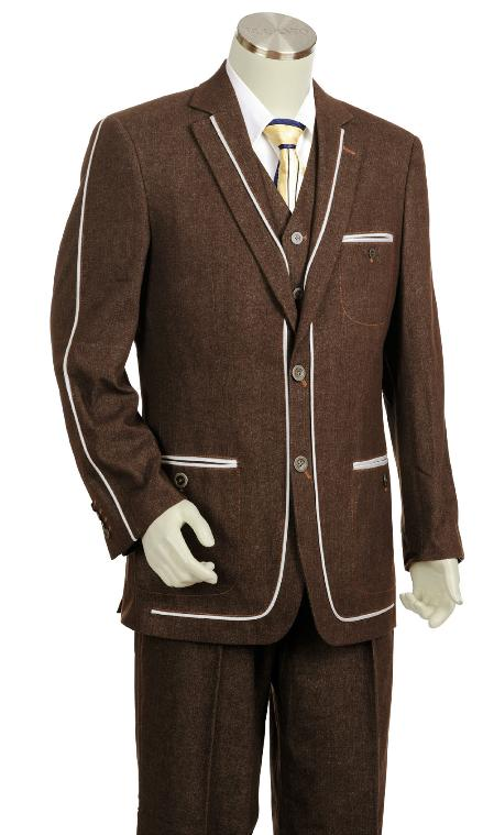 3 Button Suit Wide Leg Pants Wool feel Brown Trousers Suit Jacket