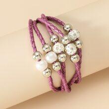 Collar a capas con diamante de imitacion