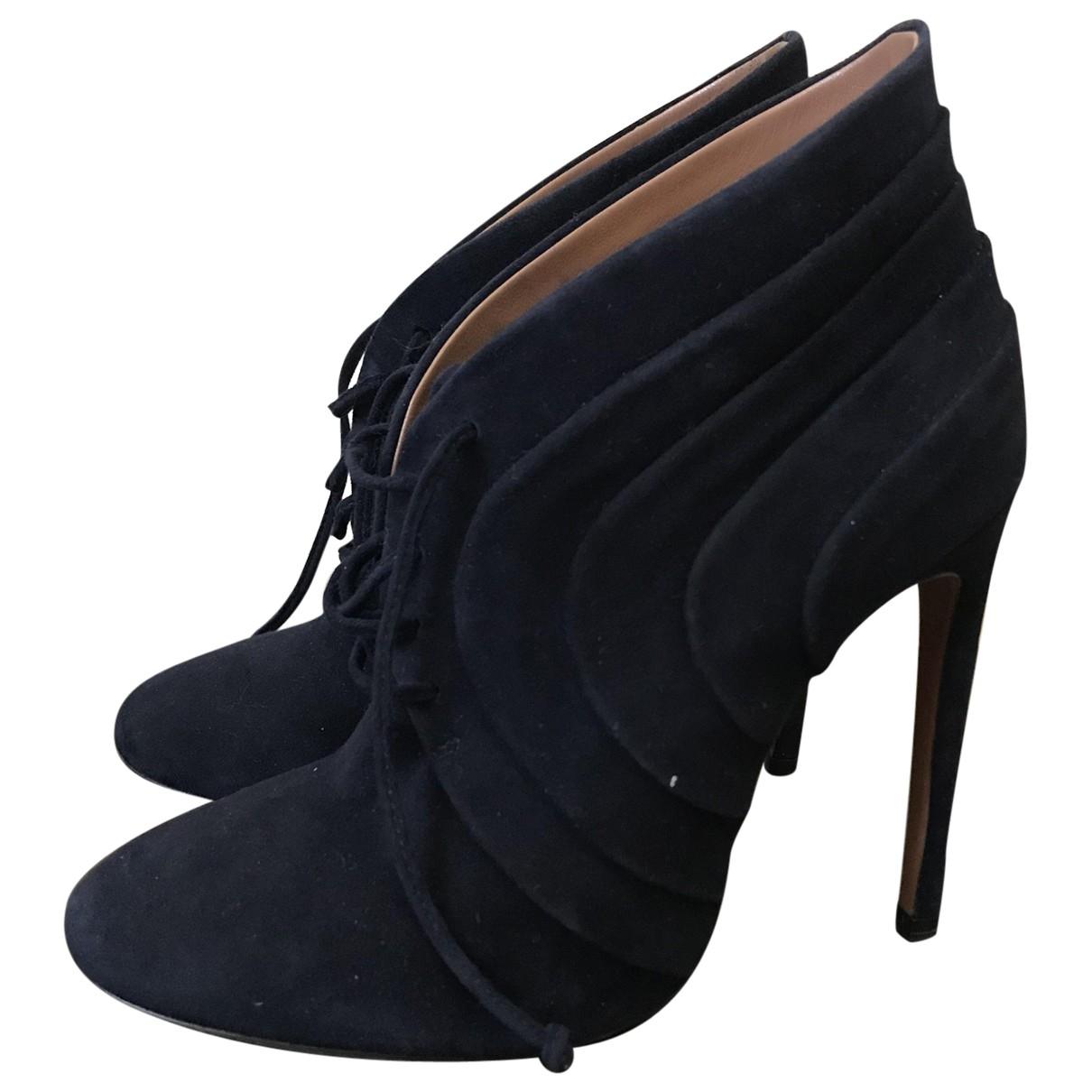 Alaia - Boots   pour femme en suede - bleu