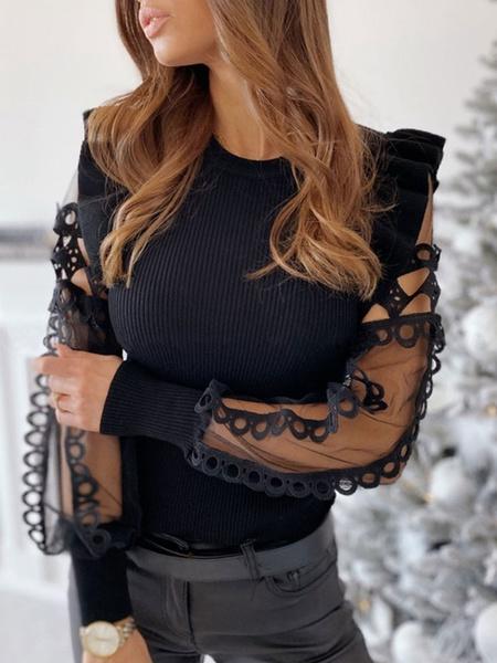 Milanoo Sexy Tops Lace Sheer Long Sleeve Women Blouse