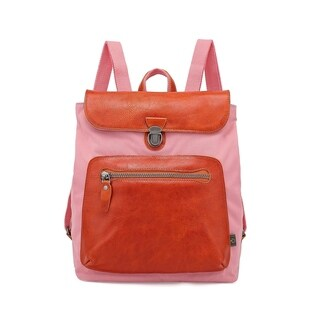 TSD Brand Valley Trail Coated Canvas Backpack (Pink - Handmade - Canvas)