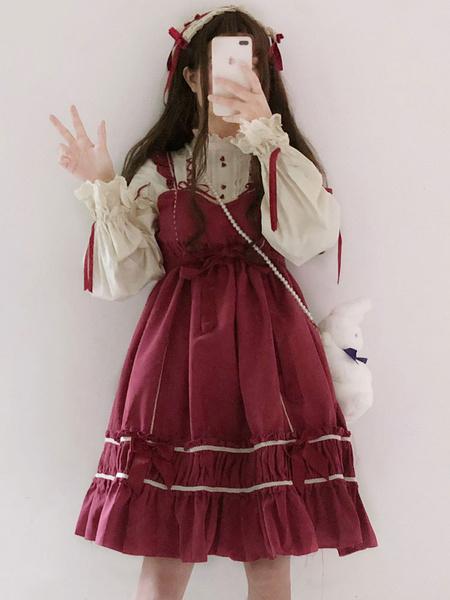 Milanoo Sweet Lolita Dress OP Bow Ruffle Color Block Cotton Lolita One Piece Dress