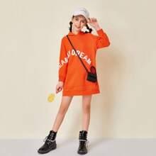 Neon Orange Sweatshirt Kleid mit Buchstaben Muster und Kapuze