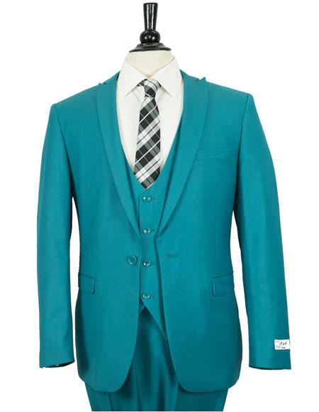 Men's 1 Button Slim Fit Dark Cyan Peak Lapel Vested Suit