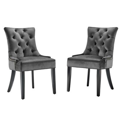 Regent Collection EEI-3780-CHA Set of 2 Dining Side Chairs with Nailhead Trim  Spring Coil System  Dense Foam Padding and Stain-Resistant Velvet
