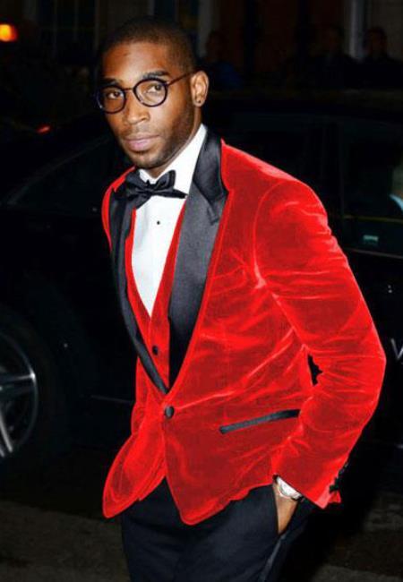 Mens Big/Tall Blazers Cheap Velvet Velour Clear Red Blazer/Sport Coat