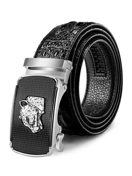 Milanoo Brown Leather Belt Metallic Panther Embossed Pattern Buffalo Men Belt