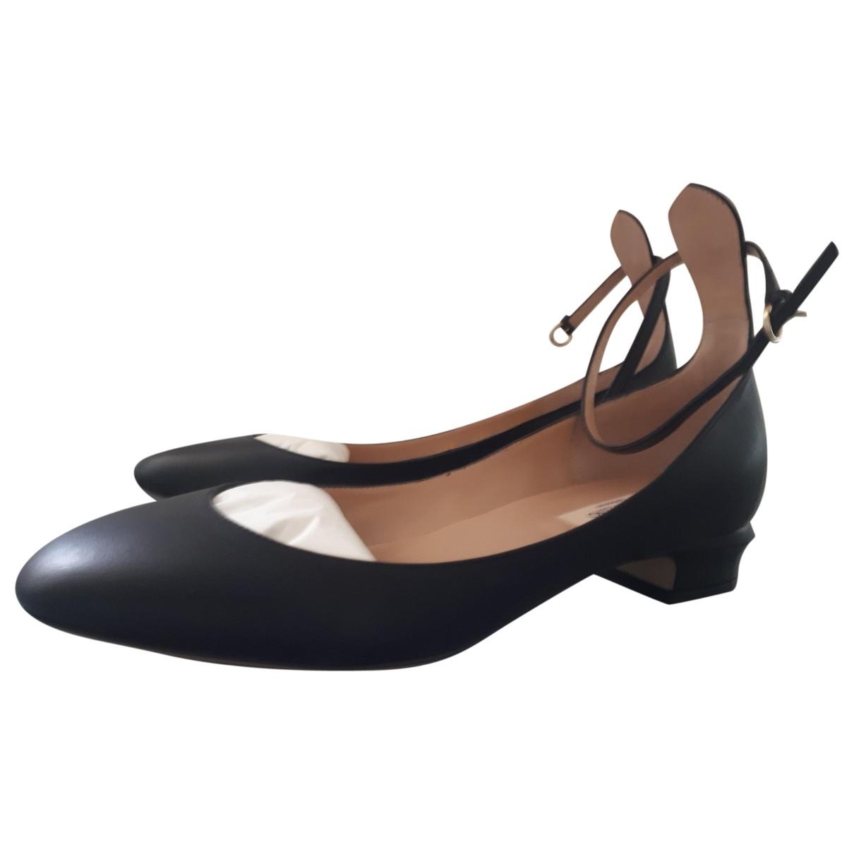 Valentino Garavani - Ballerines   pour femme en cuir - noir