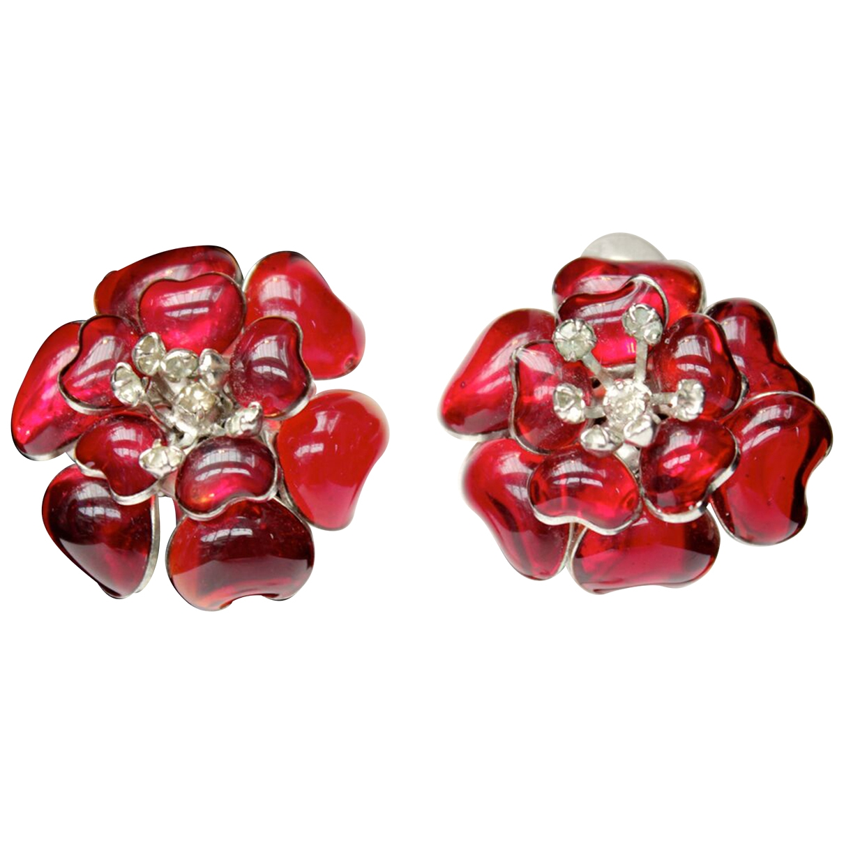 Non Signé / Unsigned Motifs Floraux Red Glass Earrings for Women \N