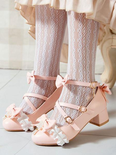 Milanoo Sweet Lolita Pumps Bows Fruncido PU Cuero Grueso Tacon Lolita