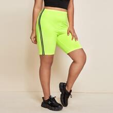 Plus Neon Green Striped Tape Side Biker Shorts