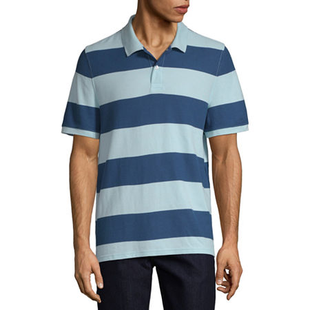 St. Johns Bay Mens Short Sleeve Polo Shirt, Large , Blue