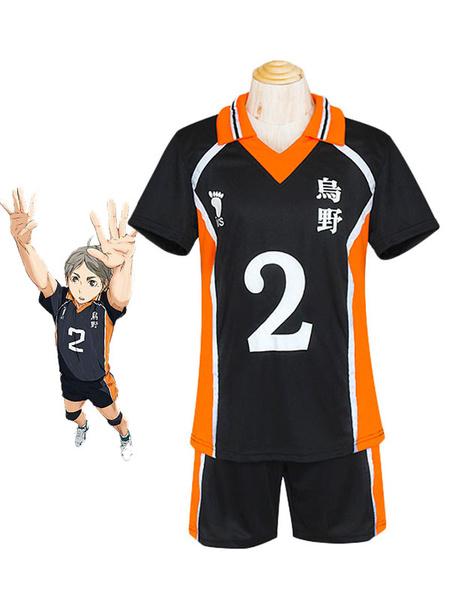 Milanoo Haikyuu!! Sugawara Koushi Cosplay Costume No. 2 Jersey Halloween
