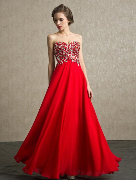 Milanoo Vestido de gala chifon escote en corazon sin mangas pedreria