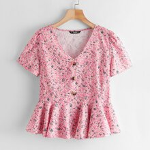 Button Front Ditsy Floral Peplum Top