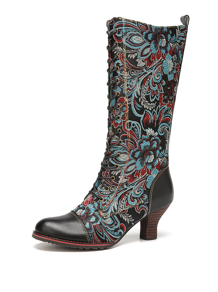 SOCOFY Elegant Flowers Printed Cowhide Leather Wearable Casual Mid-calf Boots