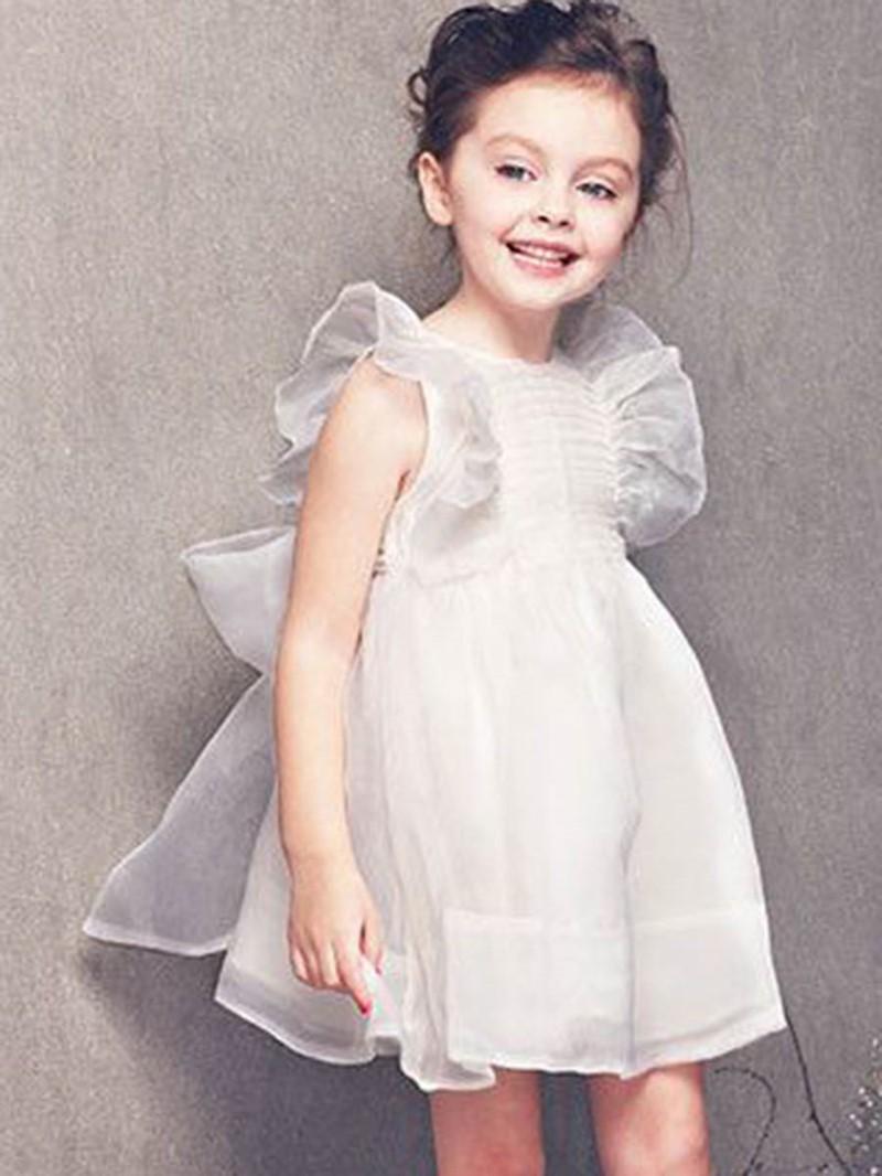 Ericdress Mesh Bowknot Ruffle Sleeve Girl's Ball Gown Princess Dress