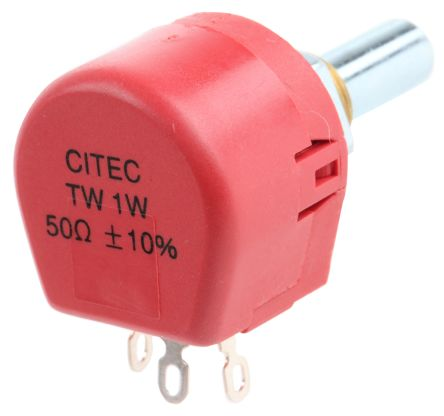 TE Connectivity 1 Gang Rotary Wirewound Potentiometer with an 6.35 mm Dia. Shaft - 50Ω, ±10%, 1W Power Rating, Linear,
