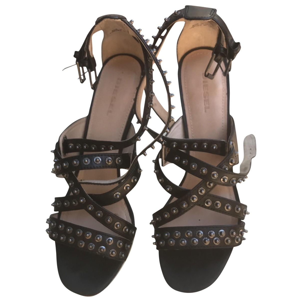 Diesel - Sandales   pour femme en cuir - noir