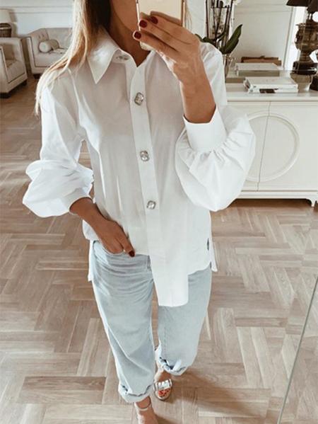 Yoins White Button Design Classic Collar Design Long Sleeves Blouse