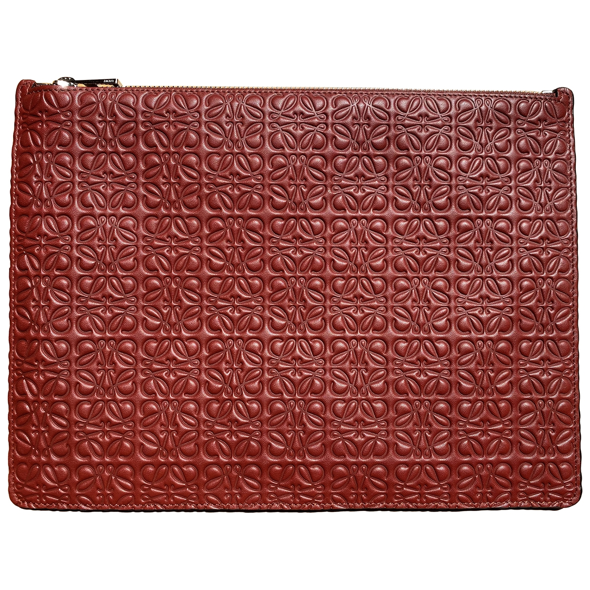 Loewe T Pouch Burgundy Leather Clutch bag for Women \N
