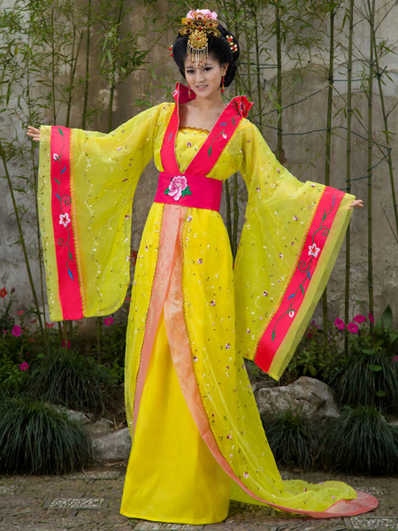 Milanoo Chinese Costume Female Traditional Rose Chiffon Women Hanfu Dress Ancient Tang Dynasty Clothing 3 Pieces