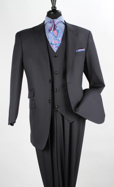 Mens Single Breasted Vest 3 Piece Wool Blend Fashion Suit Navy Color