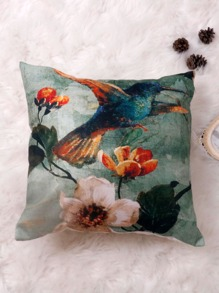 1pc Bird Print Cushion Cover Without Filler