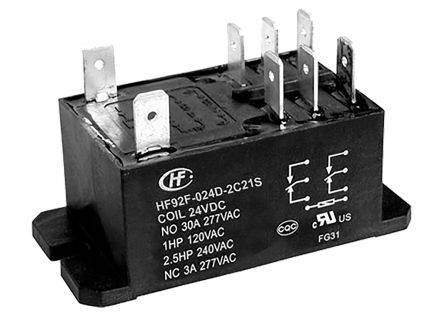 Hongfa Europe GMBH , 24V dc Coil Non-Latching Relay DPDT, 30A Switching Current Flange Mount Single Pole