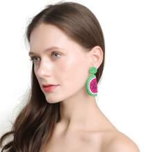 Beaded Watermelon Charm Drop Earrings