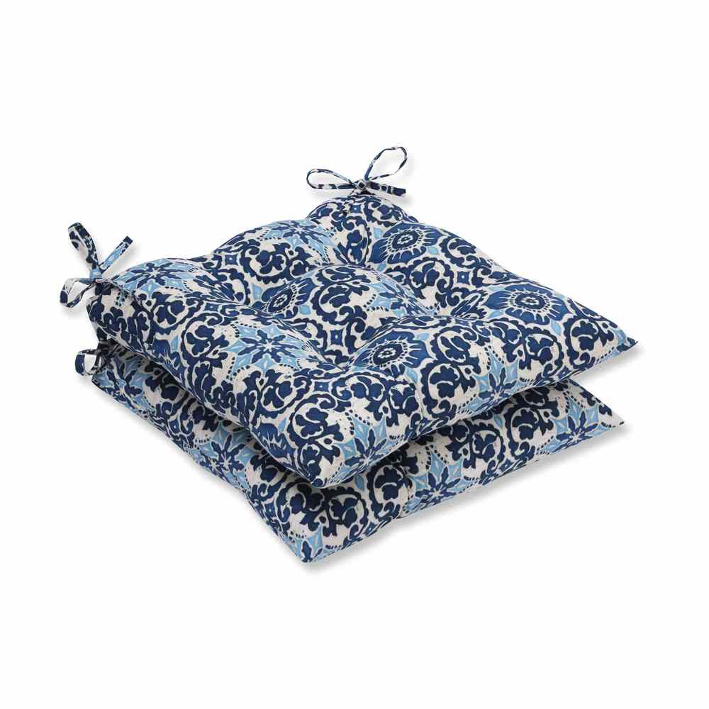 Pillow Perfect Outdoor/ Indoor Woodblock Prism Blue Wrought Iron Seat Cushion (Set of 2) (Woodblock Prism Blue)