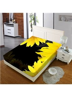 Yellow Sunflowers Reactive Printing 1-Piece Polyester Bed Cover / Mattress Cover