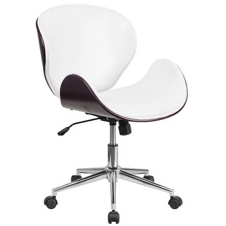 Mid-Back Wood Swivel Conference Chair In Leather (Antique White)