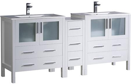 FCB62-301230WH-I Torino 72 Double Sink Vanity with Integrated Sinks in White