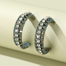 Rhinestone Decor Cuff Hoop Earrings